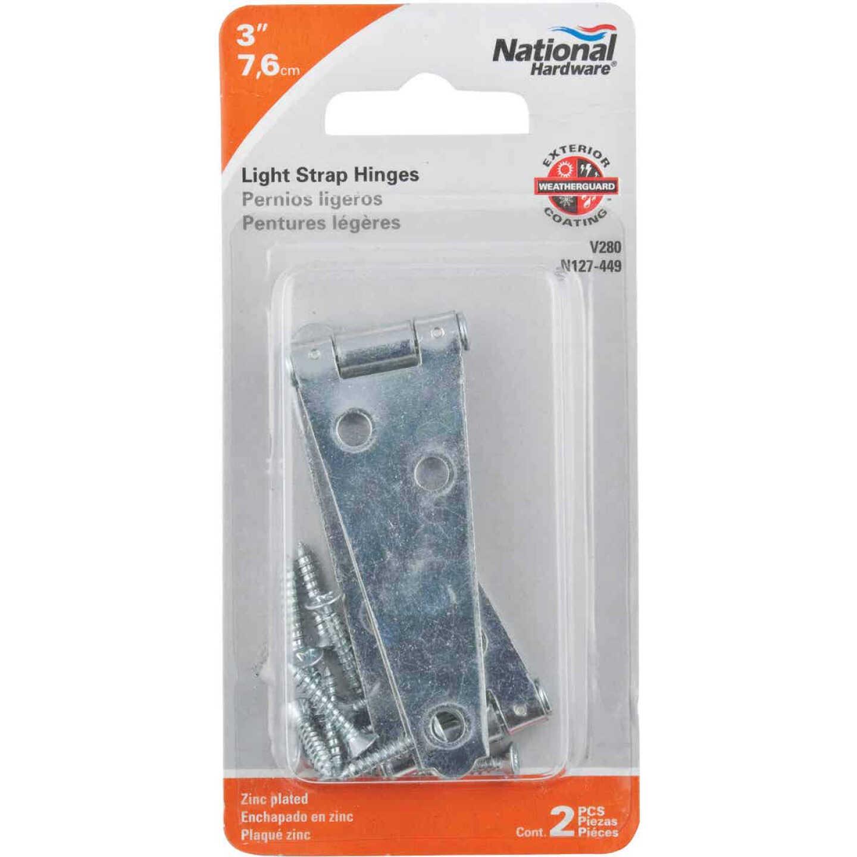 National 3 In. Zinc Light Strap Hinge Image 2
