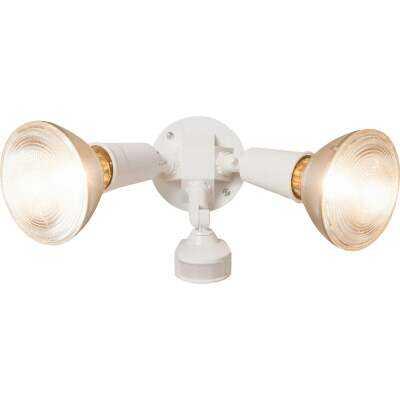 White Motion Sensing Dusk To Dawn Incandescent Floodlight Fixture