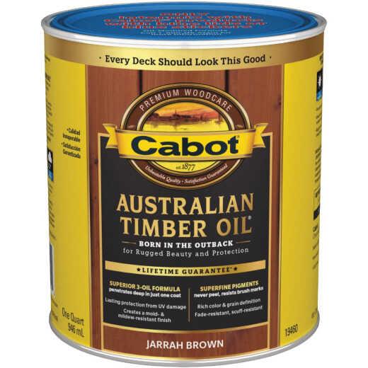 Cabot Australian Timber Oil Water Reducible Translucent Exterior Oil Finish, Jarrah Brown, 1 Qt.