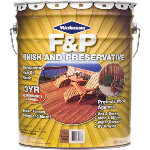 Wolman F&P Transparent Wood Finish And Preservative, Redwood, 5 Gal.